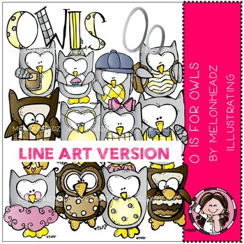 O is for owls by Melonheadz LINE ART