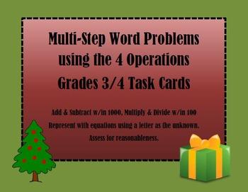 Multi-Step Word Problem Task Cards Christmas Theme