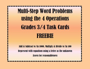 Multi-Step Word Problem Task Cards Freebie