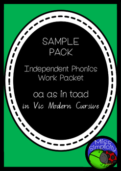 OA as in BOAT 2 page sampler INDEPENDENT phonics work book