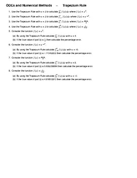 ODEs and Numerical Methods – Trapezium Rule