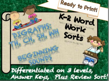 OFFICIAL Beginning Digraph Sorts NO PREP Differentiated K-