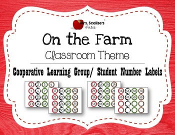ON THE FARM Classroom Theme Cooperative Learning Labels- S