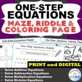 ONE-STEP EQUATIONS Maze, Riddle & Coloring Page (Fun Activities)