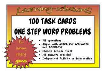ONE STEP MATHS PROBLEMS - 50 Task Cards
