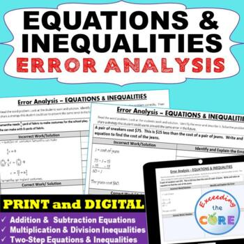 EQUATIONS & INEQUALITIES  -  Error Analysis  (Find the Error)