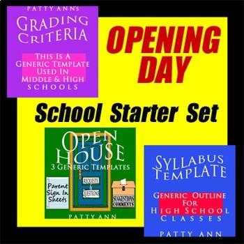 Syllabus + Grading Policy + Open House = 5 Templates!  **B