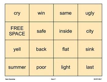 OPPOSITES Bingo, Speech Therapy, Language, Vocabulary ANTONYMS