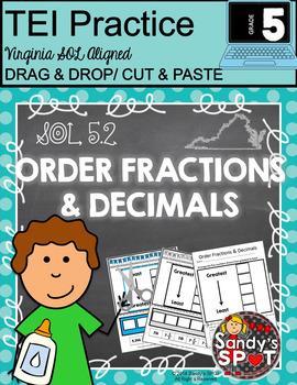 ORDER FRACTIONS AND DECIMALS CUT & PASTE CLICK & DRAG VIRG