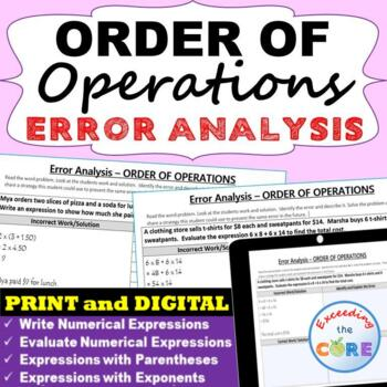 ORDER OF OPERATIONS Word Problems - Error Analysis  (Find