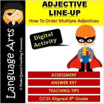 ADJECTIVE ORDER ASSESSMENT CCSS Aligned 4th Grade Up
