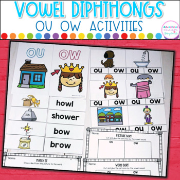 OU OW- Diphthong Activities and Printables