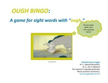 """OUGH""  SIGHT WORD BINGO"
