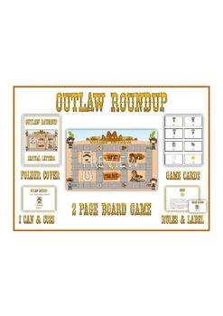 OUTLAW ROUNDUP Syllables - ELA First Grade Folder Game - W