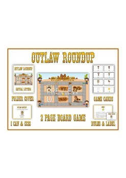 OUTLAW ROUNDUP Vowels - ELA First Grade Folder Game - Word