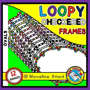 OVAL LOOPY CHECKERED FRAMES CLIPART