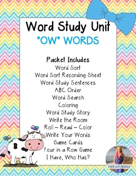 OW Word Study Unit:  Activities and Printables!