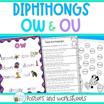 OW and OU diphthongs - posters and worksheets