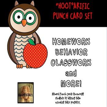 OWL PUNCH CARD FOR BEHAVIOR CLASSWORK HOMEWORK and MORE SET
