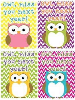 """OWL Miss You Next Year"" Cards FREEBIE"