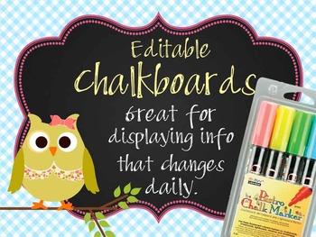 OWLS - Classroom Decor: editable chalkboard  POSTERS / Bis