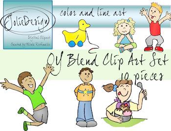 OY Blend Phonics Clip Art Set - Color and Line Art 10 pc set