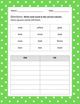 Oa & Ow Phonics Word Sort