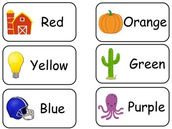 Object Colors printable Picture Word Flash Cards. Preschoo