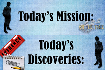 Objectives and Learnings: Detective Theme Bulletin Board Header