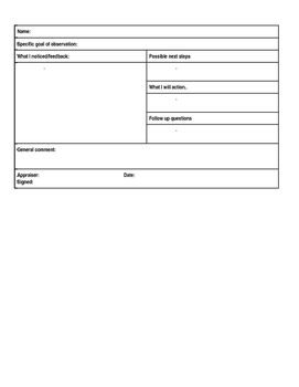 Observation Document - Student Teachers (EDITABLE)