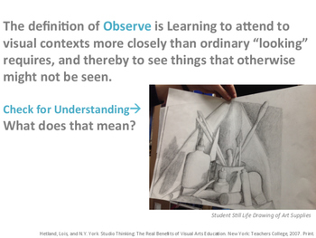 Studio Thinking Habit of Mind Observe Introduction or Pre-