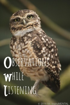 Observations While Listening (OWL) Music Binder Cover Shee