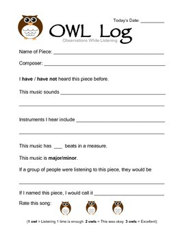 Observations While Listening (OWL) - Music Worksheet