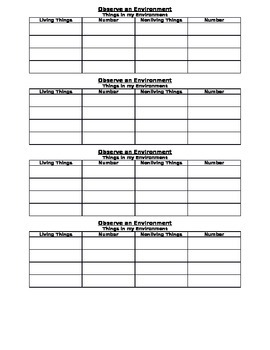 Observe an Environment Recording Sheet