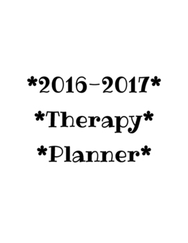 Occupational & Physical Therapy Planner