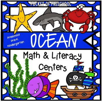 Ocean Math and Literacy Centers for Preschool, Pre-K, and