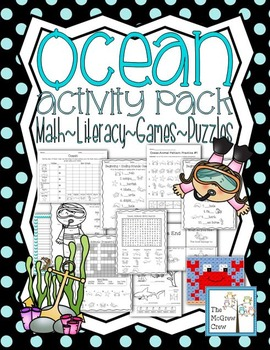 Ocean Animal Activity Pack Math Literacy Games Puzzles Cen