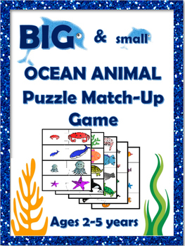 Ocean Animal Big and Small Match-Up Puzzle for Preschool