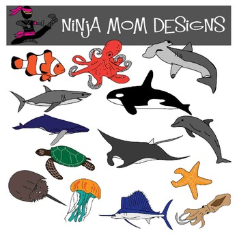 Ocean Animal Clip Art in Color and Black Line