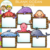 Blank Signs with Ocean Animals Clip Art