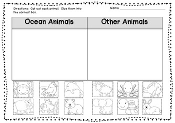 Ocean Animal Sort FREEBIE