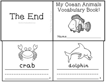 Ocean Animal Vocabulary Writing Practice Mini-Book Reader