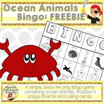 Ocean Animals Bingo - FREEBIE!