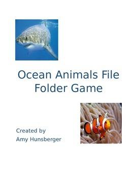 Ocean Animals File Folder Game