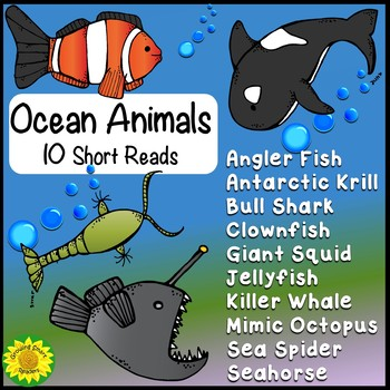 Ocean Animals Short Reads (10 Nonfiction Passages)