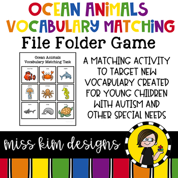Ocean Animals Vocabulary Folder Game for Early Childhood S