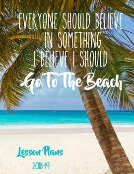Ocean / Beach Editable Lesson Planner Binder 2016-17