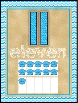 Ocean Beach Sea Themed Classroom Decor Number Word Posters