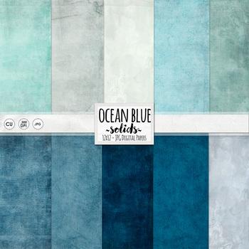 Ocean Blue Digital Paper - Solid, Textured Digital Card St