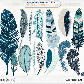Ocean Blue Feather ClipArt, Tribal Design, Hand-Drawn, Com